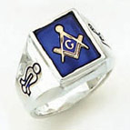 Sterling Silver Masonic Blue Lodge Ring Ring Solid Back#50