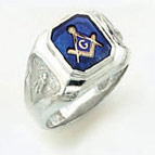 Sterling Silver Masonic Blue Lodge Ring Ring Solid Back#51