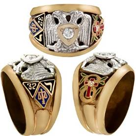 Scottish Rite Rings, 10KTor 14KT,  Solid Back,14 DEGREE, 16 DEGREE, 18 DEGREE, AND 32ND, #1204