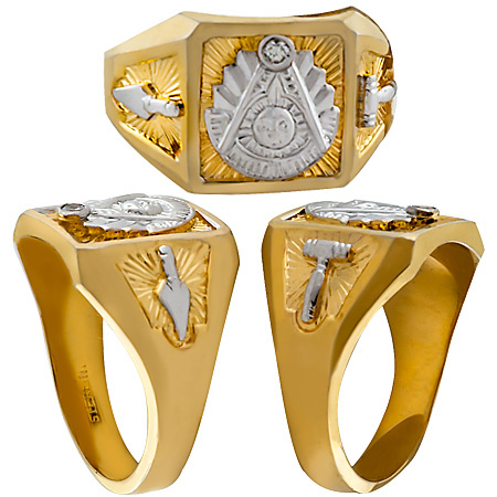 Masonic Past Master Rings, 10KT or 14KT GOLD, Solid Back  #1008