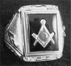 Gothic Sterling Silver Masonic Rings,Solid Back #9G