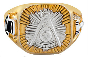 Masonic Past Master Rings, 10KT or 14KT Gold, Yellow or White Gold,Solid Back #1003