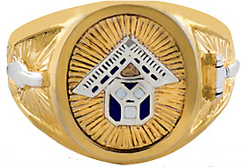 Pennsylvania Past Master Ring 10KT or 14KT Yellow or White  Gold, Solid Back #1008A