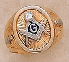 3rd Degree Masonic Blue Lodge Ring 10KTor 14KT All White,All Yellow or Two Tone Gold, Solid Back  #306