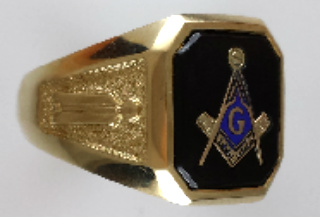 Wefferling-Berry, Blue Lodge Ring 10KT Or 14KT Yellow or White Gold, Open or Solid Back #310A