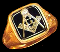 Wefferling-Berry, Blue Lodge Ring ,14KT Yellow or White Gold, Solid Back #319A