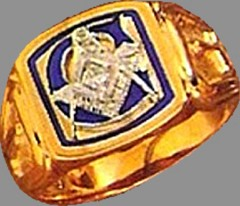 Wefferling-Berry, Blue Lodge Ring 10KT Or 14KT Yellow or White Gold, Solid Back #323A