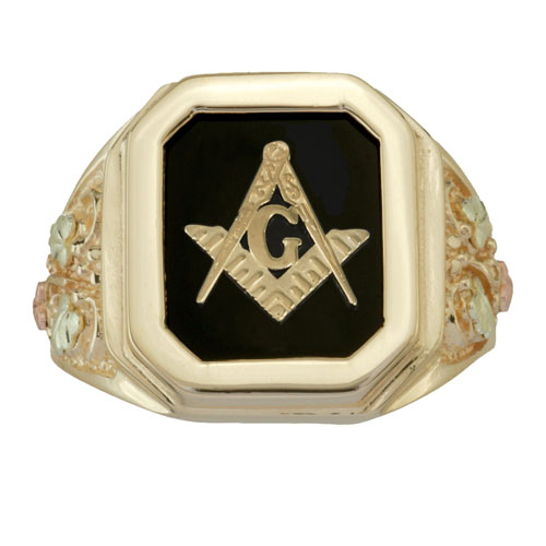 Black Hills Gold Masonic Ring Accented with 12K Rose and Green Leaves, Open Back #7