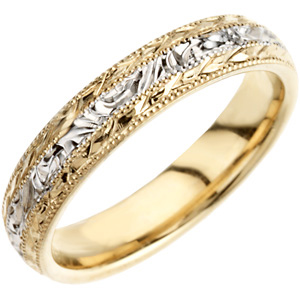 4 mm Two-Tone Hand-Engraved Band #13