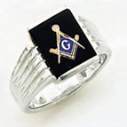 Sterling Silver Masonic Blue Lodge Ring Ring Solid Back#55