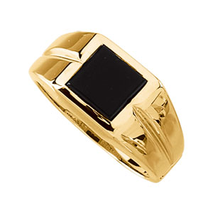 Men&#39s Black Onyx Ring 14KT White or Yellow Gold #8
