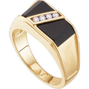 Men's Black Onyx Ring 14KT White or Yellow Gold #9