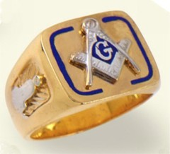3rd Degree Blue Lodge Masonic Ring 10KT OR 14KT, Hollow Back #17
