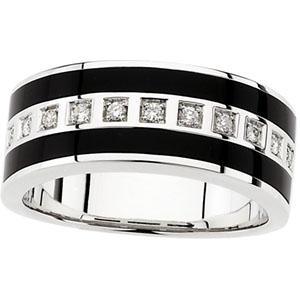 Men&#39s Onyx & 1/5 ct tw Diamond Band #24