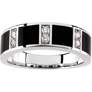 Men&#39s Onyx & 1/4 ct tw Diamond Band #23