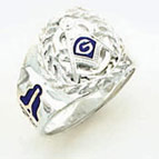 Sterling Silver Masonic Blue Lodge Ring Solid Back#58