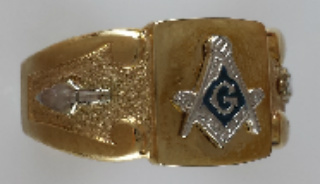 3rd Degree Blue Lodge Masonic Ring 10KT or 14KT Gold, Solid Back, Yellow or White Gold 708A