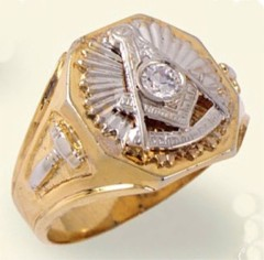 Masonic Past Master Rings, 10KT  or 14KT GOLD, Solid Back #1008B