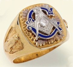 3rd Degree Masonic Blue Lodge Ring 10KT or 14KT Gold, Solid Back #307