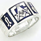 Sterling Silver Masonic Blue Lodge Ring Ring Solid Back#56