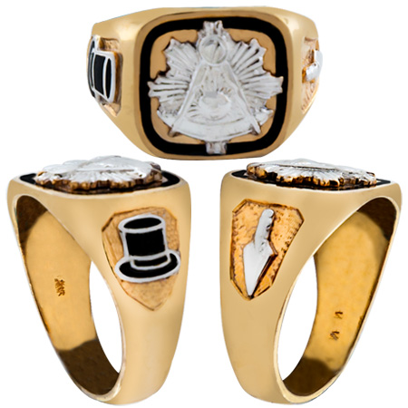Masonic Past Master Rings, 10KT or 14KT GOLD, Solid Back  #1002