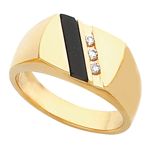 Men's Black Onyx Ring 14KT White or Yellow Gold #7