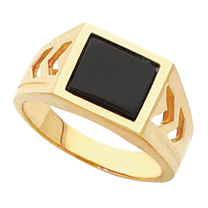 Men&#39s Black Onyx Ring 14KT White or Yellow Gold #6