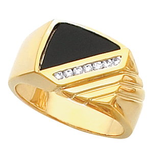 Men&#39s Black Onyx Ring 14KT White or Yellow Gold #5