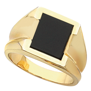Men&#39s Black Onyx Ring 14KT White or Yellow Gold #4