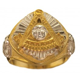 Masonic Past Master Rings 10KT or 14KT YELLOW OR WHITE Gold, Solid Back #1038