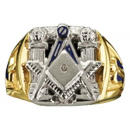 3rd Degree Masonic Ring 10KT OR 14KT, Open or Solid Back, White or Yellow Gold #604