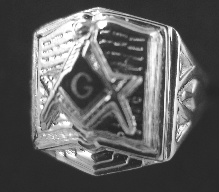 Gothic Sterling Silver Masonic Bible Ring, Solid Back #10G