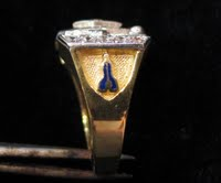 3rd Degree Masonic Blue Lodge Ring 10KT or 14KT Gold, Solid Back #319