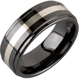 8.0mm Ceramic Couture™ Ridged Band with 14KT Yellow Inlay #107