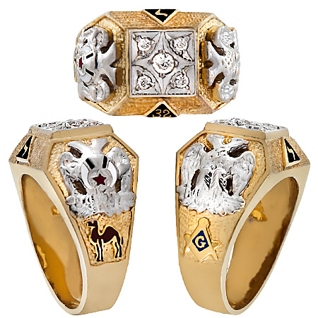 32ND DEGREE SCOTTISH RITE-SHRINE RINGS, Hollow Back  #1301