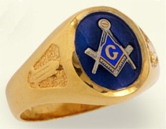 3rd Degree Masonic Blue Lodge Ring 10KT OR 14KT, Solid Back  #217