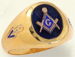 3rd Degree Masonic Blue Lodge Ring 10KT OR 14KT Yellow or White Gold, Solid Back #224