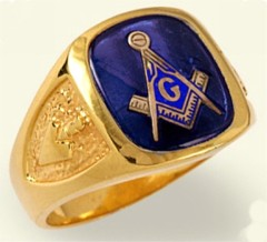 3rd Degree Masonic Blue Lodge Ring 10KT  or 14KT, Solid Back  #205