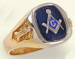 3rd Degree Masonic Blue Lodge Ring 10KT or 14KT, Solid Back #206