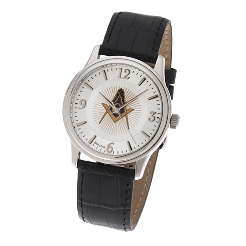 Bulova Masonic Watch with Black Leather Strap #549 MSW103