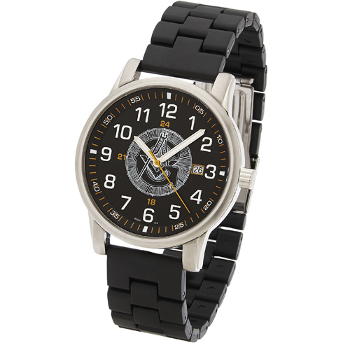 42mm Quartzline Black Masonic Watch #550 MSW108BE