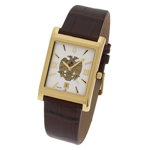 Gold Tone Rectangular Scottish Rite Watch by Bulova #548 MSW116