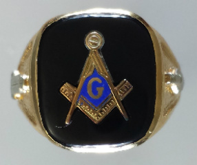 3rd Degree Masonic Blue Lodge Ring 10KTor 14KT, Open Back  #203