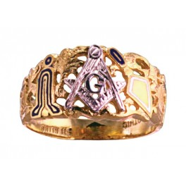 3rd Degree Masonic Ring 10KT OR 14KT, Open Back, White or Yellow Gold #618