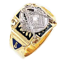 #124a Blue Lodge Masonic Ring 10K or 14K, Solid Back