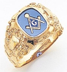 3rd Degree Masonic Blue Lodge Ring 10KT OR 14KT, Open Back, White or Yellow Gold, #111b
