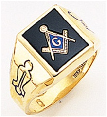 3rd Degree Masonic Blue Lodge Ring 10KT OR 14KT Solid Back, White or Yellow Gold, #195b
