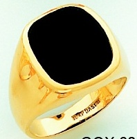 Men's Black Onyx Ring 10KT or 14KT Yellow or White Gold Open Back #102