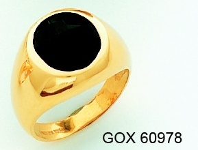 Men&#39s Black Onyx Ring 10KT or 14KT Yellow or White Gold Open Back #107