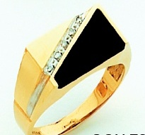 Men's Black Onyx Ring 10KT or 14KT Yellow or White Gold Open Back #105